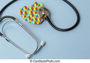 services médicaux, mental, puzzle, concept., modèle