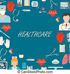 services médicaux, salle d'opération, icônes