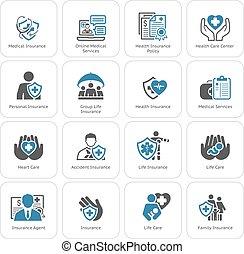 services, monde médical, set., assurance, icônes