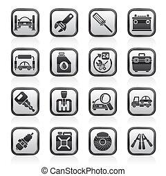 services, parties voiture, icônes