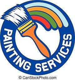 services, peinture, étiquette