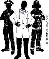 services secours, équipe, silhouettes