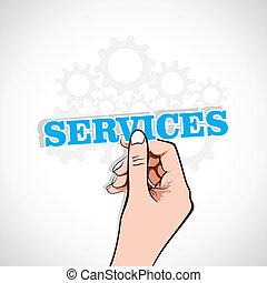services sticker in hand