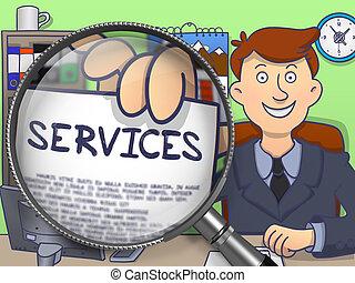 Services through Magnifier. Doodle Concept.