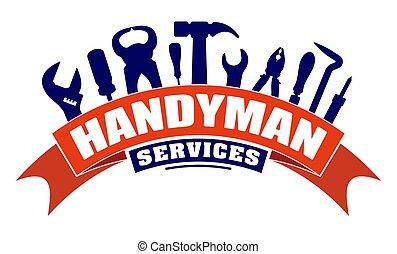 services, tools., fer, coude, soudure, bannière, bricoleur, ...