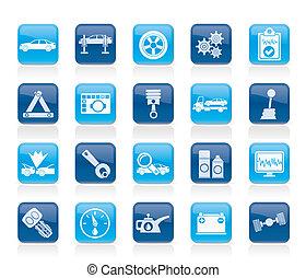 services, voiture, icônes