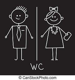 servicio, bosquejo, wc, placa, simple, hombres, símbolo.,...
