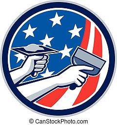 servicio, círculo, norteamericano, drywall, retro, bandera, reparación