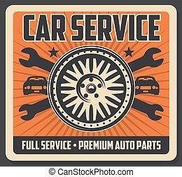 servicio coche, cartel, con, neumático, y, llaves inglesas