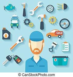 servicio coche, concepto, con, plano, iconos, y, mechanic.