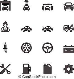servicio coche, iconos