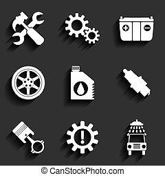 servicio coche, mantenimiento, vector, plano, icono, set.