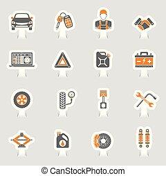 servicio coche, vector, iconos, pegatina, conjunto