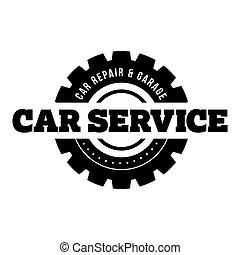 servicio coche, vendimia, estampilla