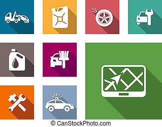 servicio, conjunto, coche, iconos, plano