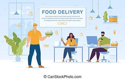 servicio, conjunto, comidas, entrega, oficina, página web, ...