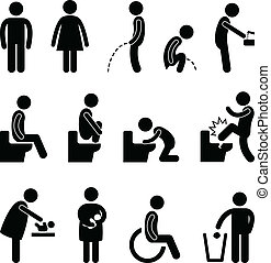 servicio, cuarto de baño, embarazada, desventaja
