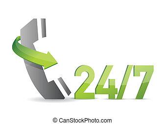 servicio de cliente, 24, 7, ilustración, diseño