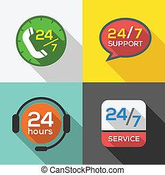servicio de cliente, 24 horas, apoyo, plano, icono, conjunto