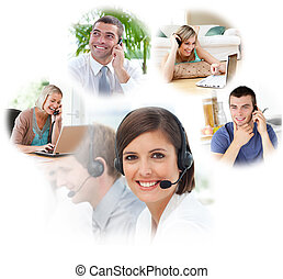 servicio de cliente, agentes, en, un, centro de la llamada