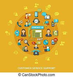 servicio de cliente, apoyo, redondo, composición
