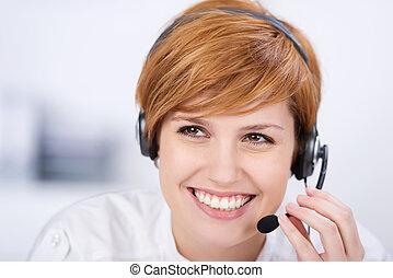 servicio de cliente, ejecutivo, oratoria, en, auriculares