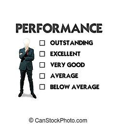 servicio de cliente, evaluación, forma, con, hombre de negocios, el seleccionar, el, opción