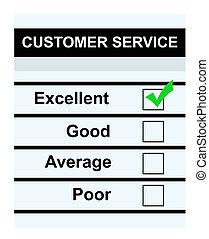servicio de cliente, excelente