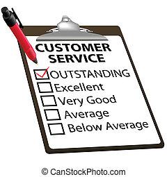 servicio de cliente, forma, sobresaliente, informe, evaluación