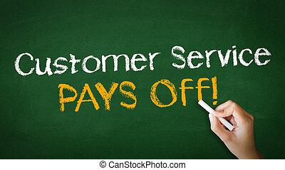 servicio de cliente, paga, de, tiza, ilustración