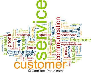 servicio de cliente, palabra, nube