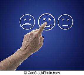 servicio de cliente, pantalla, form., mano, conmovedor, evaluación