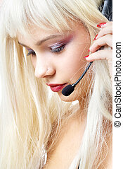 servicio de cliente, rubio, con, pelo largo