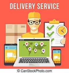 servicio de entrega, paquete, mensajero