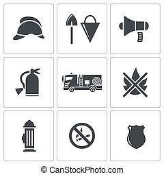 servicio del fuego, iconos, conjunto