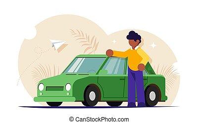 servicio, estantes, compra, el suyo, feliz, gente, illustration., o, moderno, coche., concept., plano, luego, rojo, automovilista, cars., vector