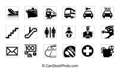 servicio, iconos, bw, invertir
