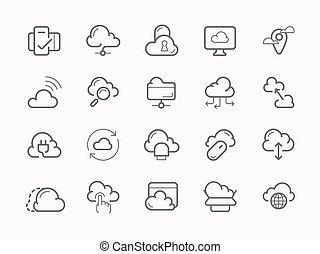 servicio, iconos, hosting, servidor, línea, nube