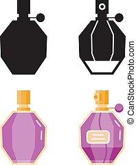 servicio, iconos, plano, perfume, cantimplora
