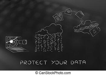 servicio, informática, asegurado, inseguro, cambio, nube