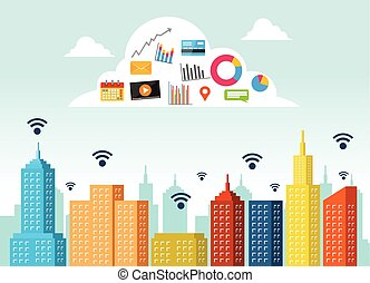 servicio, informática, cosas, concepto, tecnología,  apps,  internet, nube