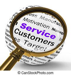 servicio, lupa, definición, exposiciones, ayuda, o, cliente,...
