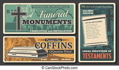 servicio, monumento, funeral, testamento, ataúd