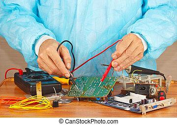 servicio, multímetro, hardware, taller, maestro, electrónico...