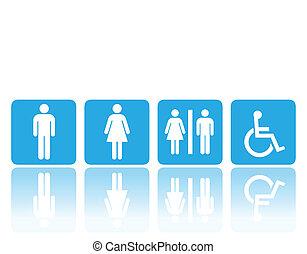 servicio, o, baño, señales