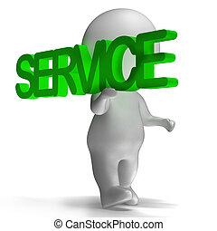 servicio, palabra, llevado, por, 3d, carácter, exposiciones,...