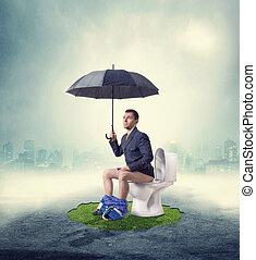 servicio, paraguas, sentado, tazón, niebla, hombre