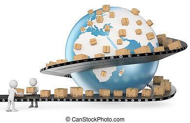 servicio, personas., entrega, internacional, blanco, 3d