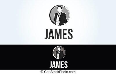 servicio, restaurante, camarero, james, mayordomo, logotipo