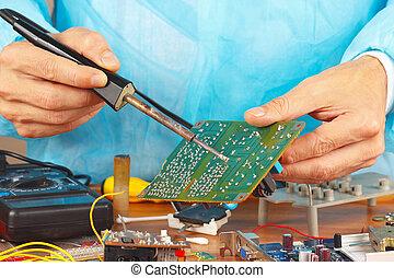 servicio, soldando, taller, tabla, dispositivo, electrónico